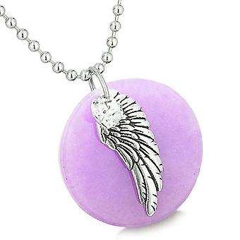 Amulet engel fløyen lilla Jade medaljong hvit Swarovski Elements hjerte fjær anheng halskjede