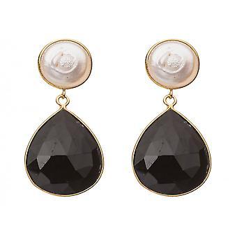 Boucles d'oreilles Gemshine 925 Perles plaquées argentonnées Onyx White Black 43,5 cm