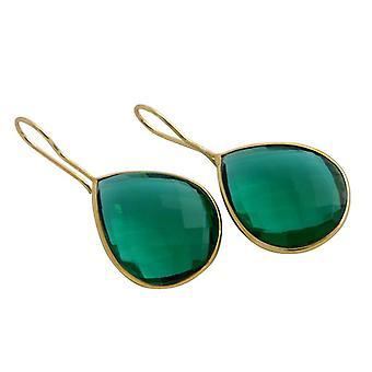 La tourmaline quartz boucles d'oreilles pierres précieuses boucles d'oreilles or plaqué vert