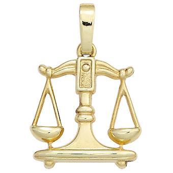 Zodiac sign Libra gold pendant Zodiac scale 333 gold yellow gold