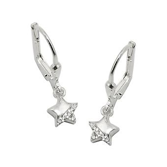 Brisur 22x6mm shiny star earrings with cubic zirconia 925 Silver