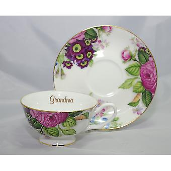 English Bone China Teacup & Saucer for Grandma