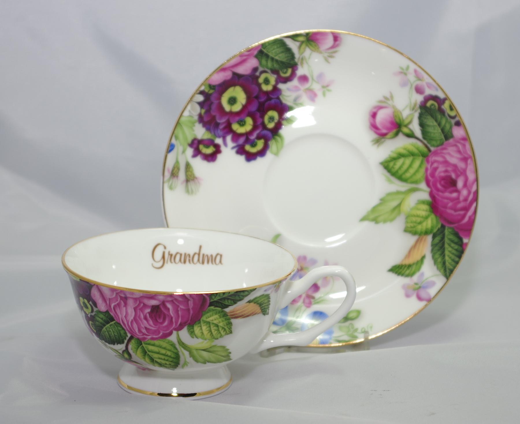 English Bone China Teacup & Saucer for Grandma