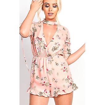 IKRUSH Womens Cora Plunge Floral Frill Playsuit