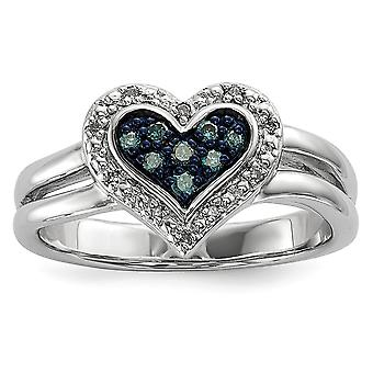 925 Sterling Silver Gift Boxed Cut out sides Rhodium plated White and Blue Diamond Love Heart Ring Jewelry Gifts for Wom