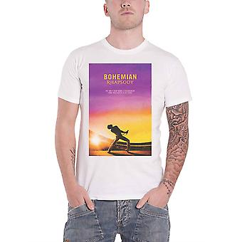 Official Bohemian Rhapsody T Shirt Queen Movie Logo Freddie new Mens White