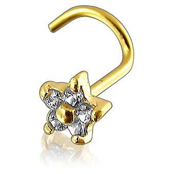 Nase Bolzen Schrauben Piercing 9 ct Gelb Gold, Körperschmuck, Blume mit Steinen