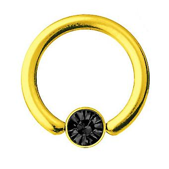 Smiley Piercing BCR guld pläterad Titan 1,2 mm, SWAROVSKI element svart | 6-10 mm