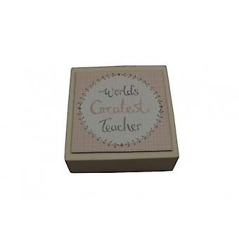 East of India World's Greatest Teacher Wooden Block Plaque