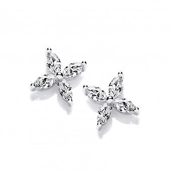 Cavendish French Silver & Cubic Zirconia Flower Stud Earrings