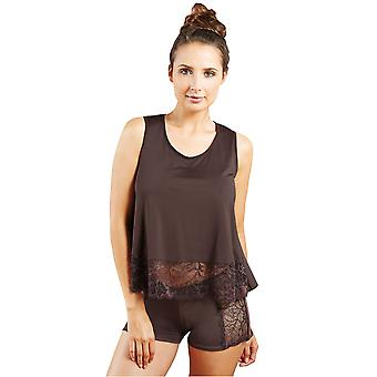 Guy brun solide couleur dentelle pyjama Pyjama court de France 59189-1-170 femmes