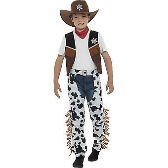 Texan Cowboy Costume, Brown, with Hat, Neck Tie, Waistcoat, Badge & Chaps
