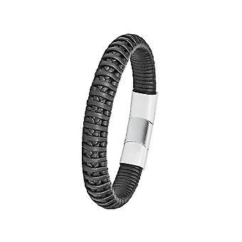 Oliver s. joya para hombre de cuero negro pulsera de acero inoxidable 2024242