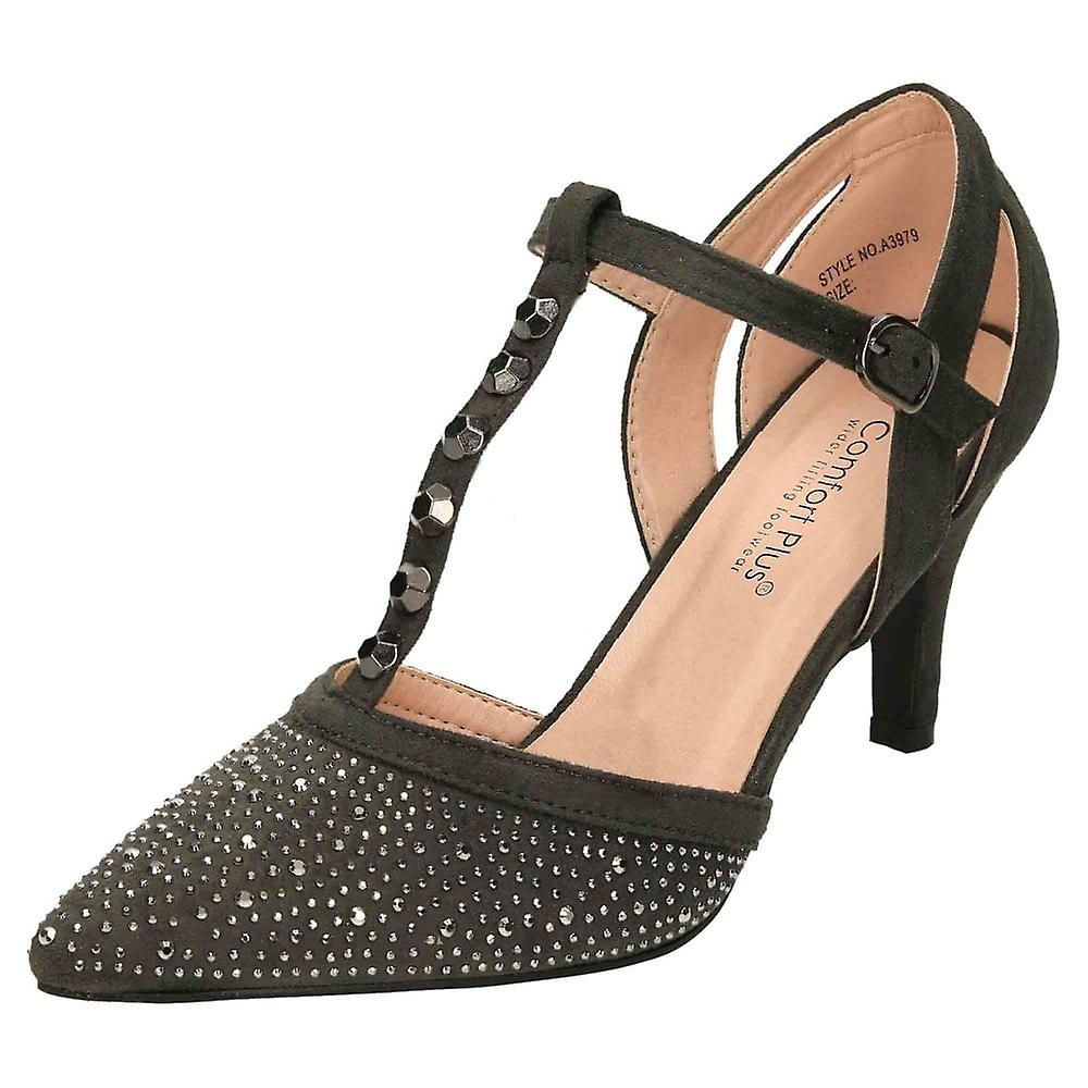 Comfort Plus Grey Wide Fit Heeled T-Bar Court Shoes