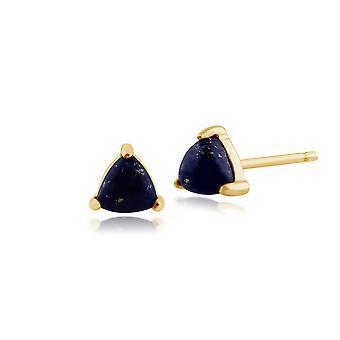 Classic Trillion Lapis Lazuli Stud Earrings in 9ct Yellow Gold 3.5mm 135E1183029