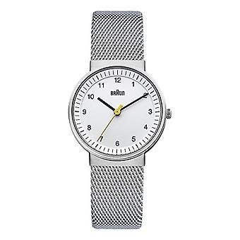 Reloj de pulsera analógico de Braun, Unisex acero inoxidable plata/blanco