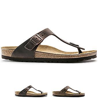 Mens Birkenstock Gizeh oljad läder tå inlägg Holiday spänne sandaler UK 6-13--