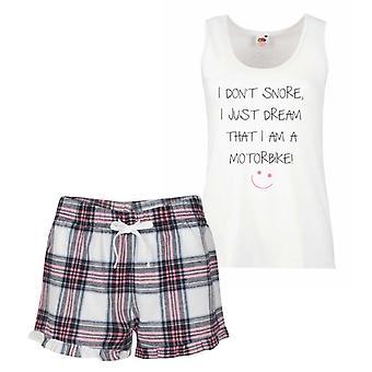 Ich Schnarchen nicht ich nur Traum bin ich ein Motorrad Pink Tartan Pyjama