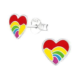 Children's Sterling Silver Colourful Heart Stud Earrings