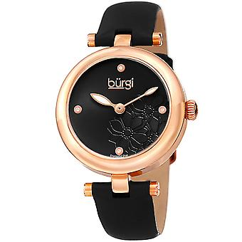 Burgi Women's Diamond Accented Flower Dial Watch - Comfortable Leather Strap BUR197BKR