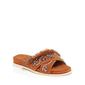 Stuart Weitzman Womens Nomdeplume Mink Suede Dress Sandals