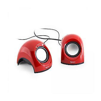 シャーク SBOX USB ステレオスピーカー - 赤 (SP-092R)