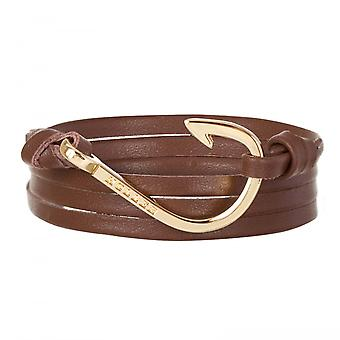 Holler Kirby  Gold Polished Hook / Brown Leather Bracelet  HLB-04GDP-L04