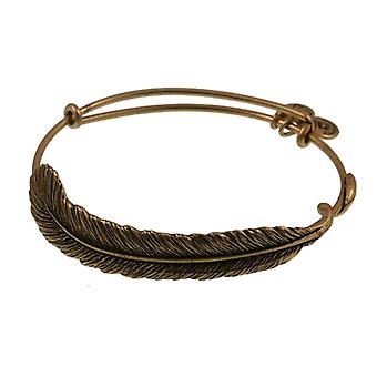 Alex and Ani Plume Feather Wrap Gold Bangle A09EB131RG