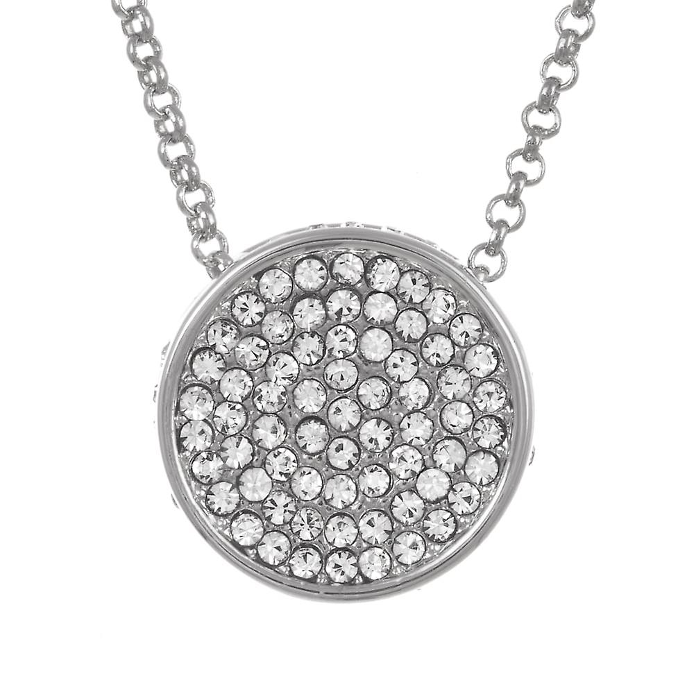 Belle & Beau Silver Plated Round Pave Crystal Necklace