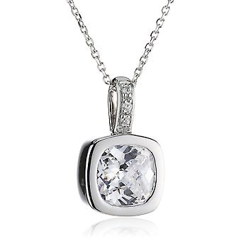 PENDANT WITH CHAIN SQUARE 925 SILVER ZIRCONIUM