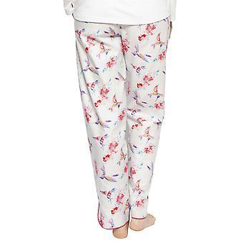Cyberjammies 4202 Damen Evie Elfenbein Off-White Kolibri Druck Baumwolle Pyjama Hose