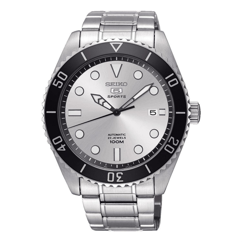Seiko 5 Sports Silver Steel Black Bezel Automatic Men's Watch SRPB87K1