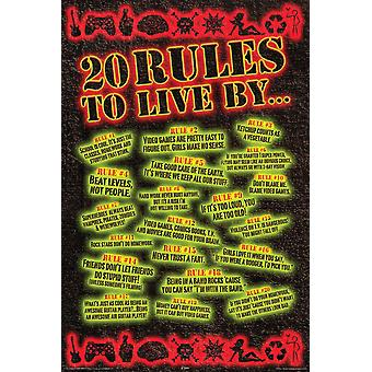 Poster - 20 Rules to Live By Rules - Wall Art Licensed Gifts Toys 241053