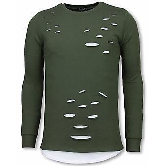 Longfit Sweater-Damaged Look Shirt-Green
