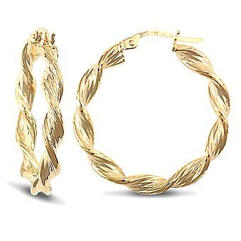 Jewelco London Ladies 9ct Yellow Gold Barked Platted Candy Twist 3.5mm Hoop Earrings 27mm