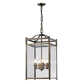 Diyas Aston hanger 4 licht antiek messing/glas