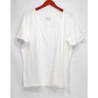 Denim & Co. kvinder ' s top Essentials Perfect Jersey kort hvid A200149