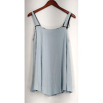 Kate & Mallory Top Sleeveless Pointed Hemline Black Cord Blue A433240