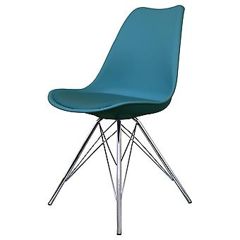 Fusion Living Eiffel Inspired Petrol Blue Plastic Dining Chair With Chrome Metal Legs