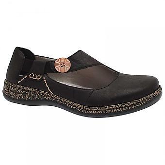 Rieker Women's Casual Slip On Black Shoes