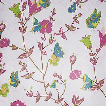Floral Butterfly Wallpaper Flowers Pink Red Blue Vintage Chic Paste The Wall