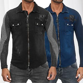 Mens Shirt Jeans Look Fabric Mix Longsleeve Zipper Transition Jacket Biker Polo