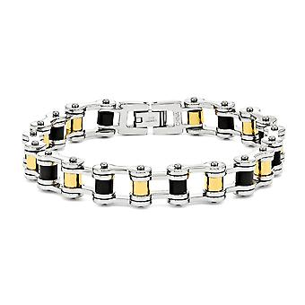Stainless Steel Polished Fold-over Yellow IP-plated 24k-Flashed Black Rubber Bracelet - 8.75 Inch