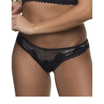 After Eden 10.35.6054-462 Women's Tale T.T. Black/Gold Lace Panty Thong