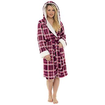 Ladies Check Print Hooded Design Fleece Bathrobe Dressing Gown