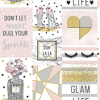 Glam Life Collage Tapety Różowy Arthouse 699402