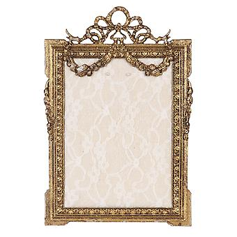 Clayre & Eef romantic golden ornate metal jewelry stand in Shabby vintage style approx. 16x24 cm