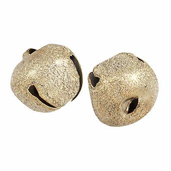 2 Frosted Gold 30mm Jingle Bells for Crafts