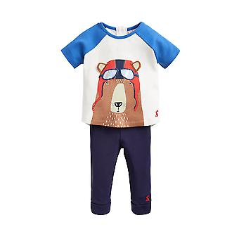 Joules Junior Mack zeefdruk top en broek set blauwe pilot Bear