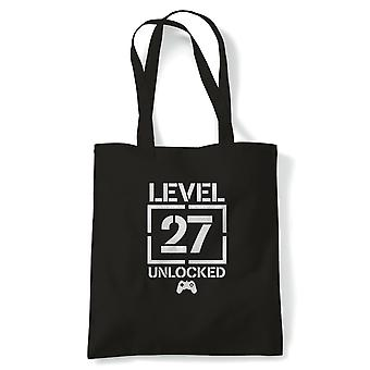 Level 27 Unlocked Video Game Birthday Tote | Age Related Year Birthday Novelty Gift Present | Reusable Shopping Cotton Canvas Long Handled Natural Shopper Eco-Friendly Fashion
